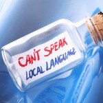 "Language learning concept with a message in a bottle ""Can't spea"