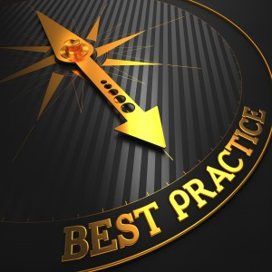 "Best Practice - Business Background. Golden Compass Needle on a Black Field Pointing to the Word ""Best Practice"". 3D Render."