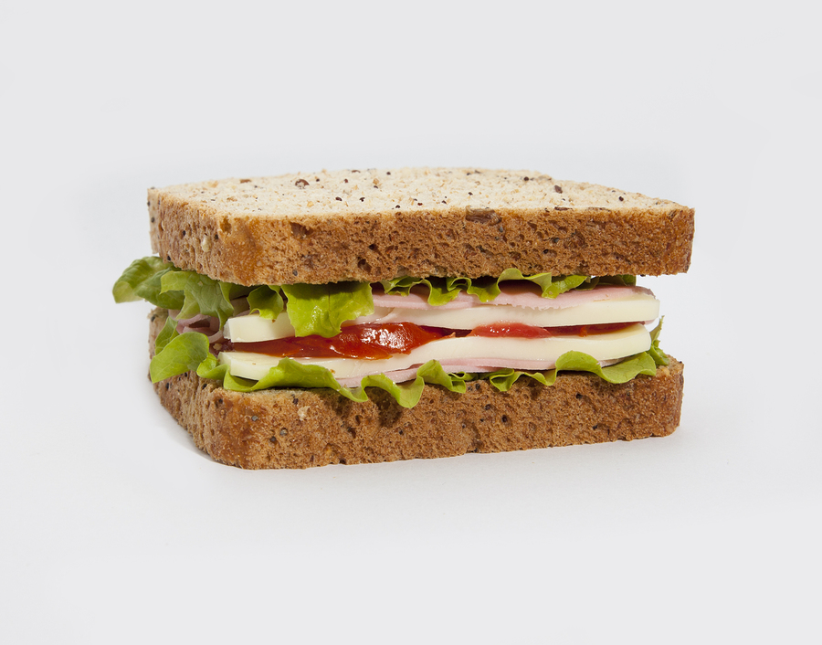 Delicious healthy sandwich on the white background