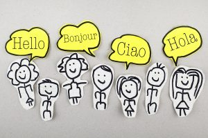 Group of sketch people with hello words in different languages