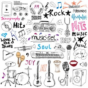 Music items doodle icons set. Hand drawn sketch with notes instruments microphone guitar headphone drums music player and music styles letterig signs vector illustration isolated