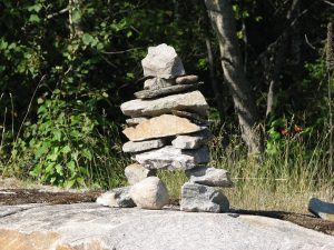 Native American Inukshuk road side stone marker.