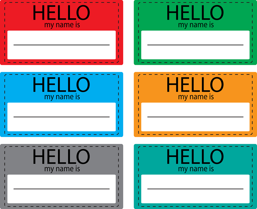 Hello my name is sticker icon set color. Name tag name card baby names name plate list of names my name is registration and inscription paper welcome identity. Vector design illustration