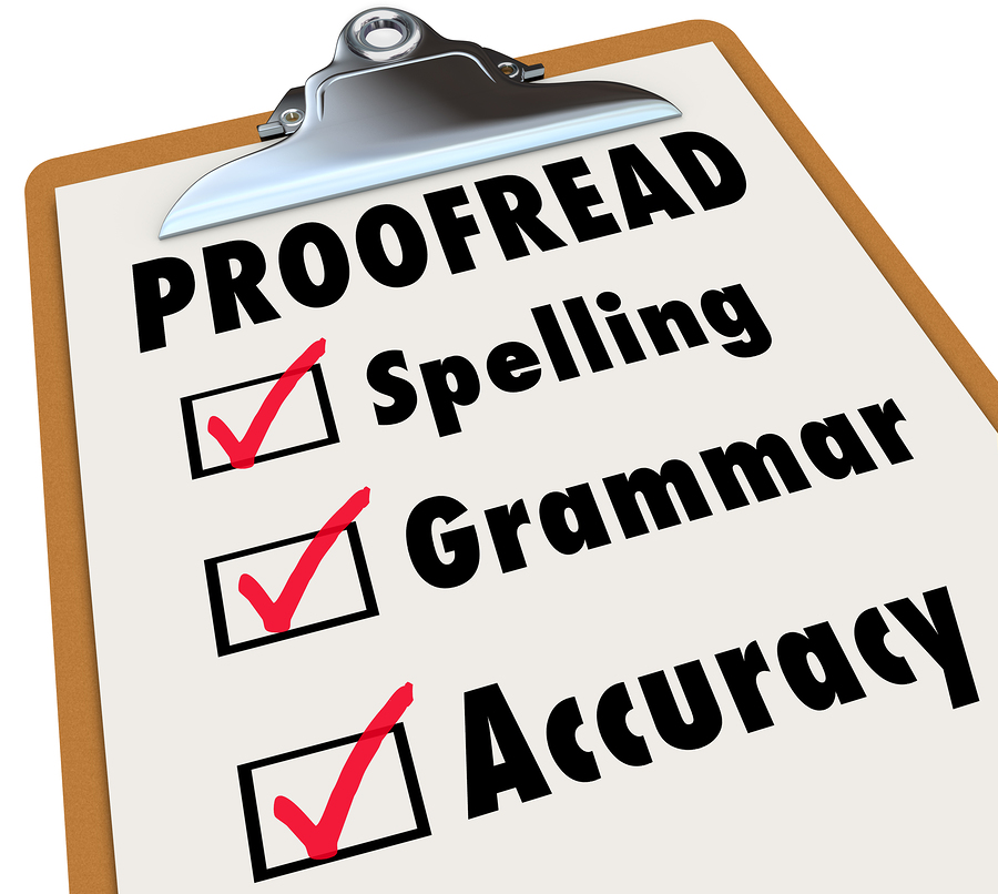 Proofread checklist and checked boxes next to the words spelling, grammar and accuracy