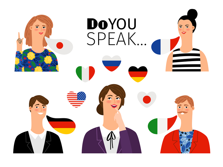 Foreign language school persons. International languages people teaching communication translations, men and women foreigners students, vector illustration