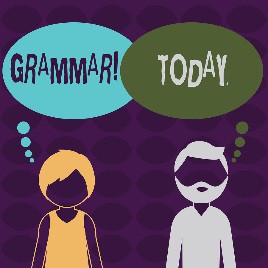 Handwriting text Grammar. Concept meaning System and Structure of a Language Writing Rules Bearded Man and Woman Faceless Profile with Blank Colorful Thought Bubble.