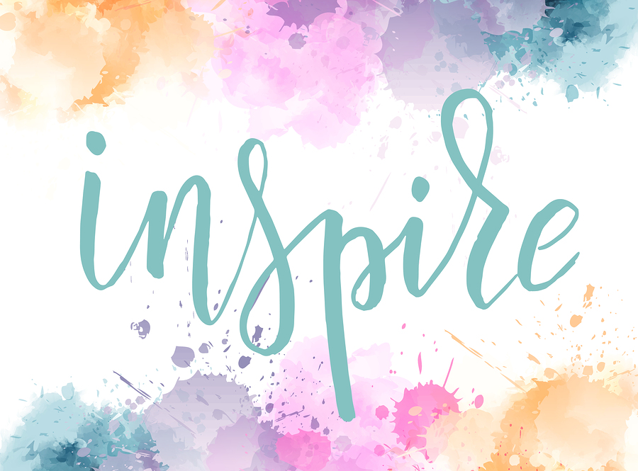 Inspire hand lettering phrase on watercolor imitation background with color splashes frame.  Modern calligraphy inspirational quote. Vector illustration.