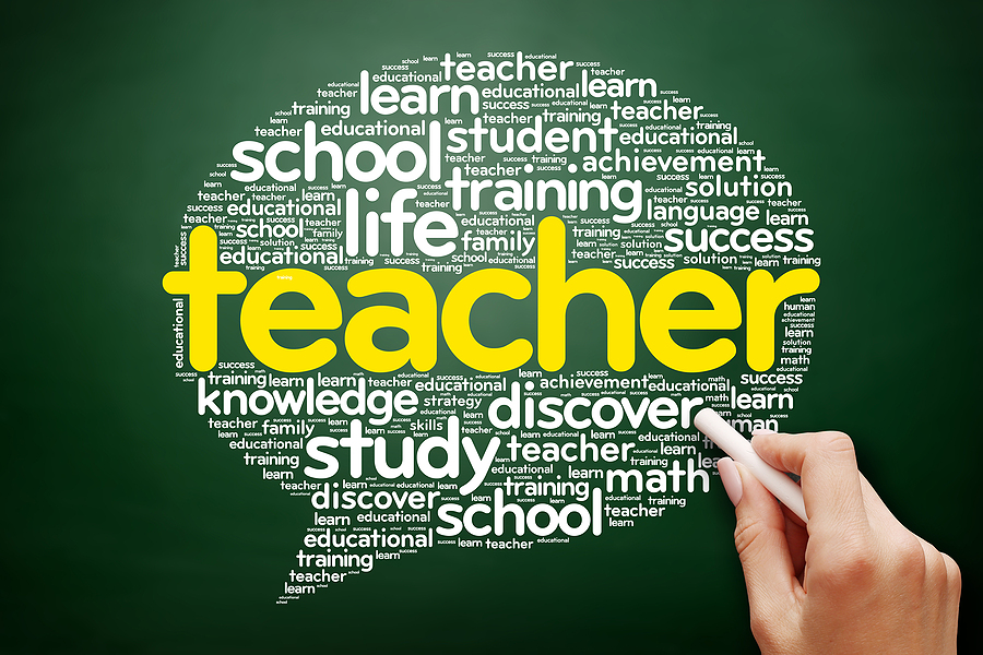TEACHER Think Bubble word cloud education concept on blackboard