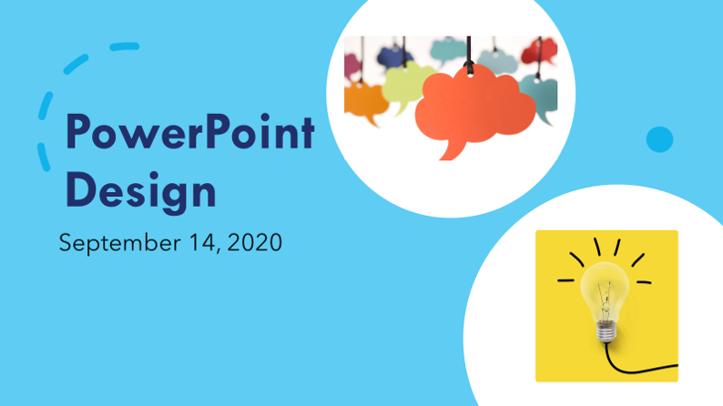 "A PowerPoint slide titled, ""PowerPoint Design,"" illustrating design ideas from PowerPoint"