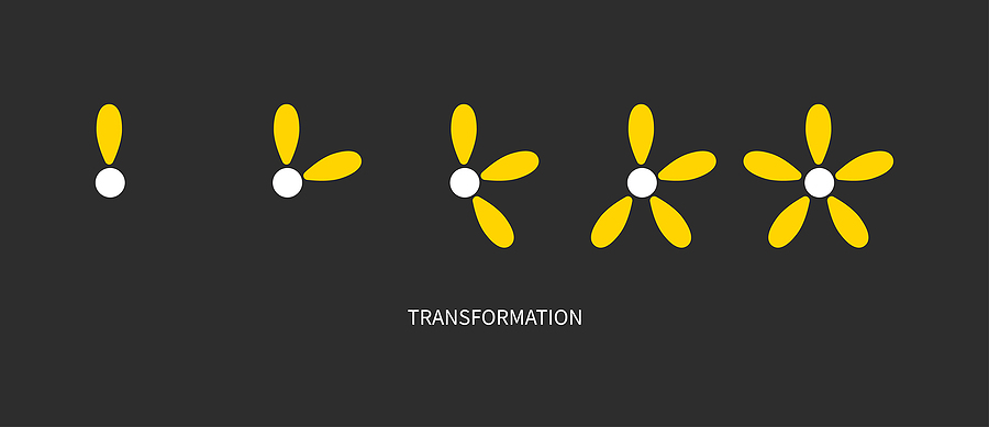Metaphor of development, growth, transformation, change Coaching icon Logo transform